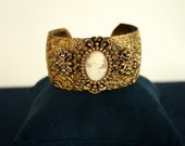 Victorian, authentic shell cameo bracelet. Antique, oversized, brass cameo cuff. Antique bracelet
