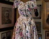 Vintage 90s Pin Up Floral Dress with tie back and Pearl Buttons