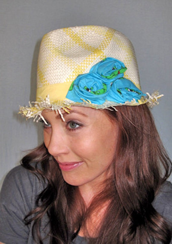 Womans Yellow Checkered Straw Fedora Summer Hat with Freyed Edges & Turquoise Rosettes