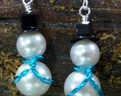 Snowman Earrings -  Swarovski Crystal Pearl, Swarovski Crystal & Sterling Silver
