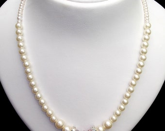 SALE%20 OFF Pearl Necklace with Swarovski Crystalls