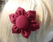 "Red Silk ""Swiss Dots"" Hair Clip/Pin"
