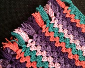 Crochet ganny strips blanket
