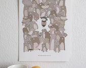 When Surrounded By a Bunch of Bears - A3 print.