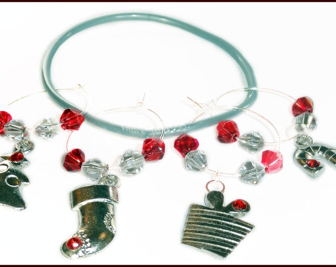 Christmas Wine Charms - Winter Red - 4/pack