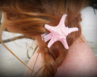 Light Pink Glitter Starfish Hair Clip