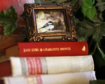 Bird print Bird art print watercolor bird painting Chickadee Painting of bird Home decor for her 2 x 3 Small FRAMED ATC ACEO