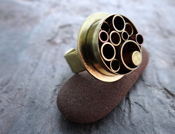 Recycled Brass Tubes Industrial Ring, OOAK