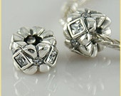 STUNNING CLEAR CZ .925 Sterling Silver European Charm Bead