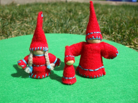 Red and Blue Waldorf Gnome Family