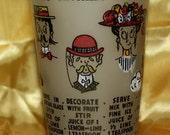 Vintage Frosted Glass Recipe Cocktail Mixer, Martini, Tom Collins, Manhattan, Daiquiri