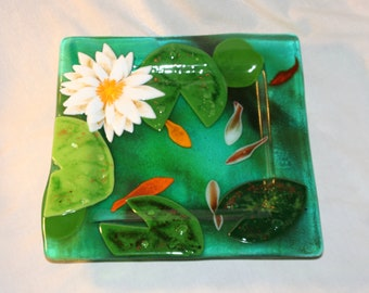 Custom Made Fused Glass Lily Pond plates