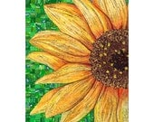Mosaic of Sunflower made with Recycled Candy & Drink Labels,  Limited Edition Giglee Print