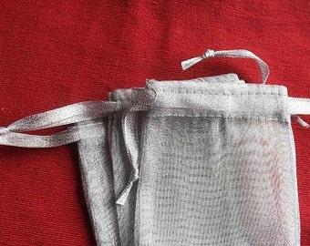 50 5x7 Silver Organza bags, 5x7 inch