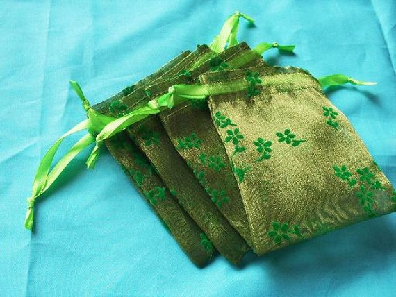 40 Printed Moss Green Organza bags, 3x4 inch