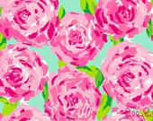 Painted Monogram on Lilly Pulitzer-style Canvas 12x12