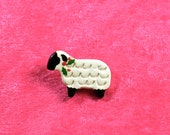 Handpainted ceramic Sheep w holly pin