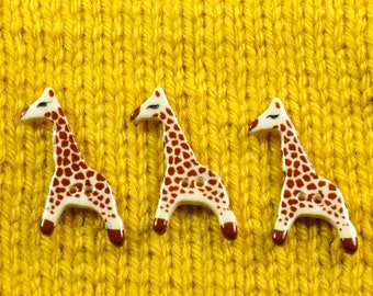 Handpainted ceramic giraffe buttons