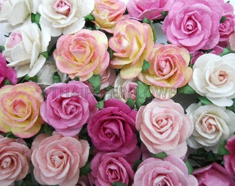 100 Mixed Pink paper flower scrapbook card making home decor craft supply Rose 6-00