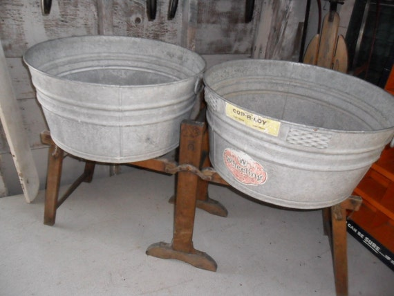 Wash Tub With Stand : Vintage Wash Tubs With Holding Stand