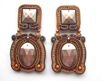 SEPTEMBER MORN' soutache earrings in antique silver, orange, gunmetal, copper and brown