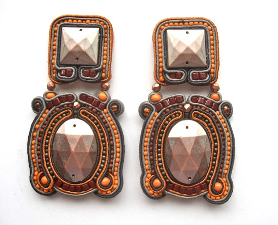 SEPTEMBER MORN' soutache earrings in antique silver, orange, gunmetal, copper and brown