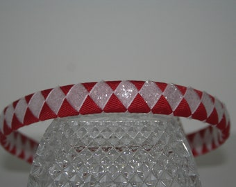 Red and White Glitter Woven Ribbon Headband