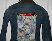 "Embellished Denim Jacket, Loops Label, Made in Italy, European Size ""42"""