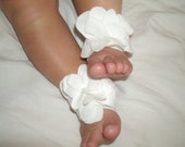 Baby Barefoot Sandals-Super Soft-Crawl Proof-White Floral