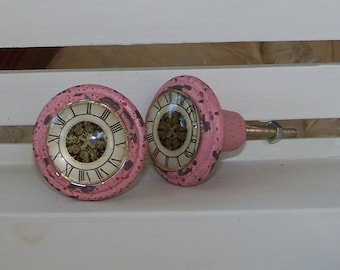 Pink Cast Iron Knob with Glass Front-Shabby Chic Dresser Drawer Pull-1 knob