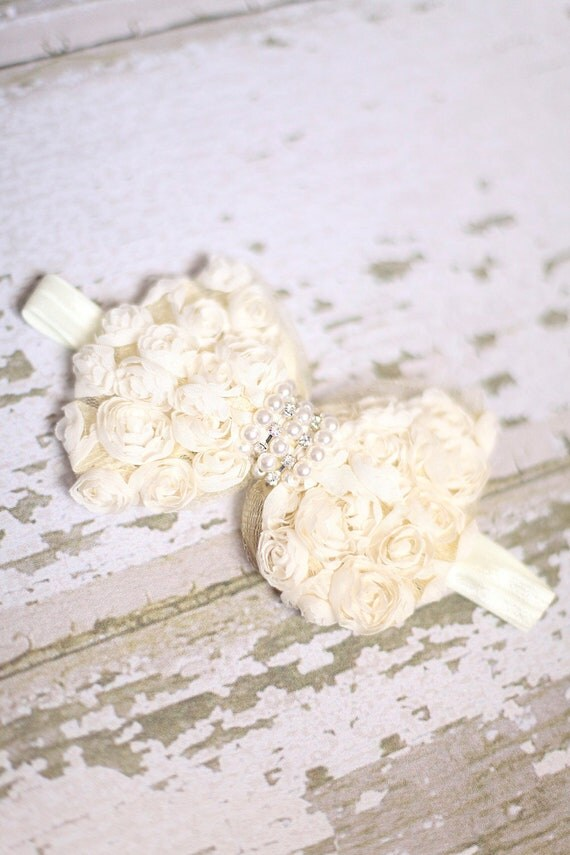 Headband, 6-12 Month Baby Vintage Headband with a Chiffon Rose Bow, Photography Prop, Children's Accessories