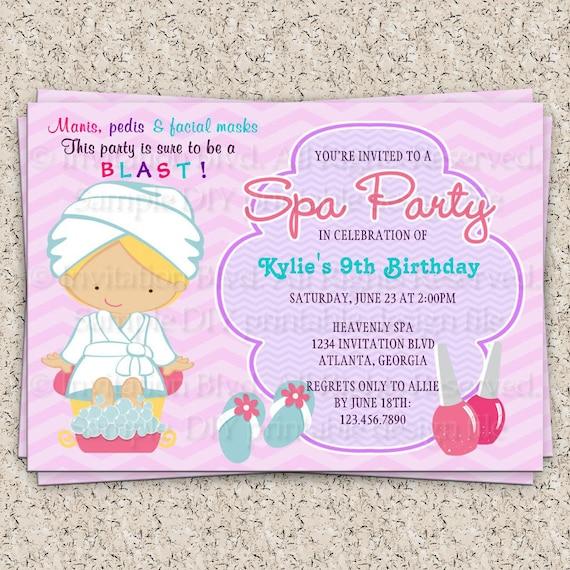 Kids Spa Party Invitation Girls Spa Party by InvitationBlvd