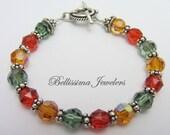 Spectacular Swarovski Crystal Bracelet with Intricate Silver Bali Beads