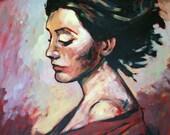 "Helena, Marta Zawadzka, Original Large Acrylic Painting 28x35"","