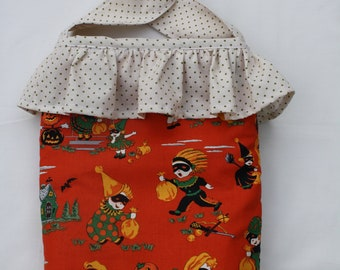 Halloween Print Trick or Treat Bag With Polka Dot Ruffle and Carrying Strap