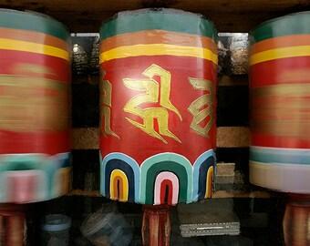 "Buddhist Prayer Wheel: Paro, Bhutan/ Fine Art Print from HarmonyWishes Collection/ 6"" x 9"" image on 8.5"" x 11"" paper"