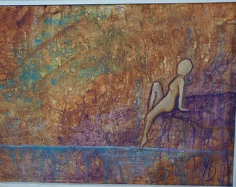 Textured Original Oil painting on board, surreal woman
