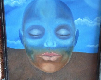 Original Oil painting, Dreamer, Earth Mother, Gaia, Surreal Face