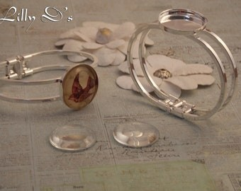 10 -25mm round vintage style Bracelet-Bangle with 1 pad -3 colors to choose from - 10- 25mm clear glass cabochan included