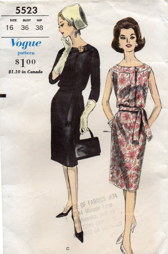 Vintage Vogue 5523 Sewing Pattern - One Piece Dress - Size 16, Bust 36, Hip 38