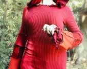 """Recycled red sweater hoodie - """"SoCal"""" - M to XL - SUPER STRETCHY - pointed elf hood"""