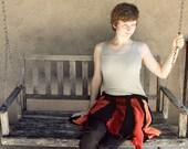 "Recycled orange black sweater skirt or poncho - ""San Francisco"" - M to XL - elastic waist"