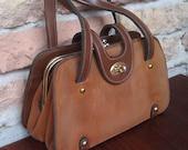 Vintage 1970s Little Brown Suede and Leather Handbag