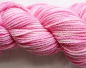 Merino Worsted 4 ply Vibrant Pink and white