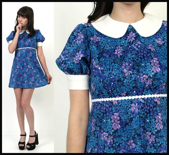 60's BabyDoll Collar Mod Blue Florals Print PUFF Sleeves 70's Dolly Mini Dress XS/S