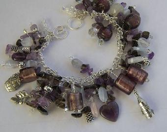 Amethyst, Smokey Quartz, Lace Agate, Silver & Crystals Bracelet