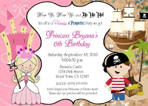 Princess and pirate birthday party invitation quotes pirate and princess birthday party by printabledigidesigns filmwisefo