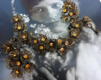 VINTAGE AMBER RHINESTONE filigree flower antique bracelet and earrings set