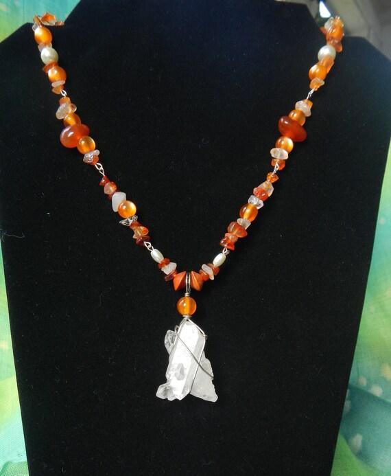 Sale! 35% off! Necklace Quartz Pendant with Carnelian Chain