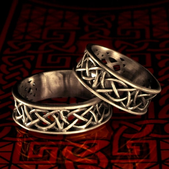 Celtic Wedding Ring Set With Open Cut-Through Knotwork Design in Sterling Silver, Made in Your Size CR-55SET